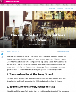 Time Out top cocktail bars - No.8 on list
